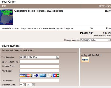 Payment page for ordering ebook.