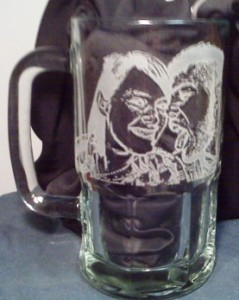 Etching glass mug from a photo