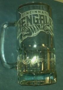 Etched glass mug of Cincinnati Bengals.