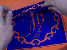 Cream step 2 showing placing stencil on glass.