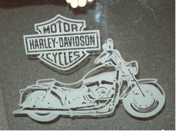 Motorcycle etched from the back side of the glass step 4.