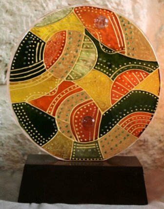 Unique glass painted round by manal.