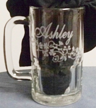 Ashley etched mug with flowers.
