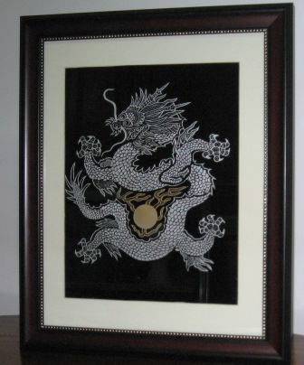 Dragon engraving with light sandblasting art.