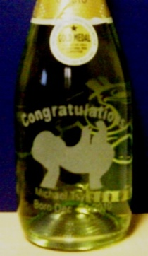 Another bad baby gift champagne bottle etching.
