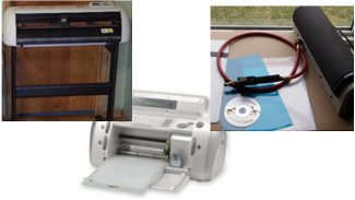 Pictures of stencil makers such as craft cutter, sign cutter, and photoresist.