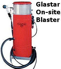 Glastar's on-site vacuum blaster.
