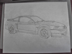 Initial drawing of a Mustang GT