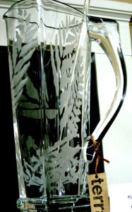 Etching of a glass pitcher.