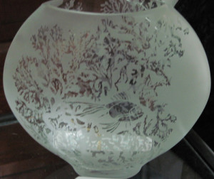 A glass bowl etched