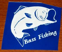 Stencil produced by a vinyl cutter of a bass fish.