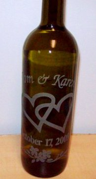 Wine bottle etched for a wedding.