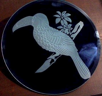 Mirror etching of a toucan.