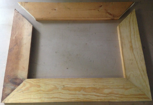 Home made frame by cutting 45 degree angles.
