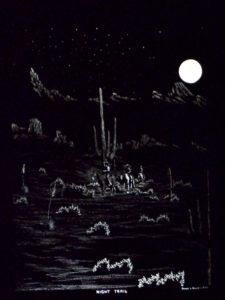 1974 Night Trail engraving, James Bruce