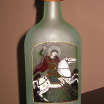 Artistic bottle etched and carved with St. Georgije.