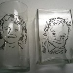 Rotary engraving people on glasses.