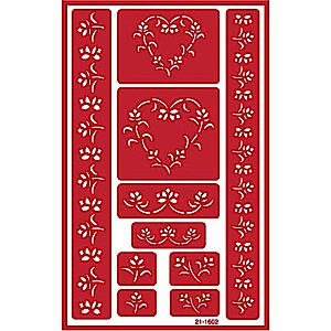 Floral Heart  Glass Etching Stencil Designs