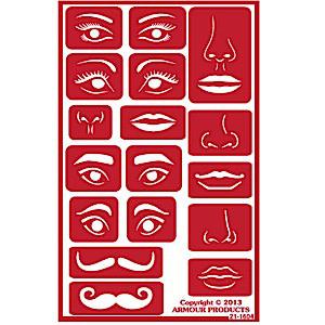 Design a Face  Glass Etching Stencils: Mustache, Lips, Eyes, Nose