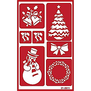 Christmas Glass Etching Stencils with Tree, Wreath, Snowman Bows, Bells