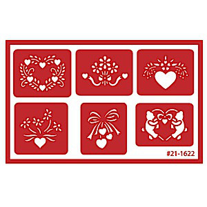 Assorted Heart Glass Etching Stencil Designs