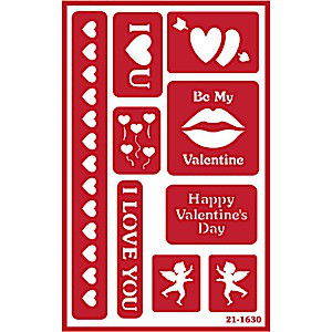 Valentine's Day Glass Etching Stencils