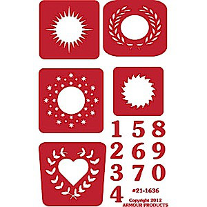 Reverse Number Glass Etching Stencils with Outer Designs