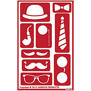 Decorate a Face Glass Etching Stencils: Hat, Glasses, Mustaches, Ties, Pipe