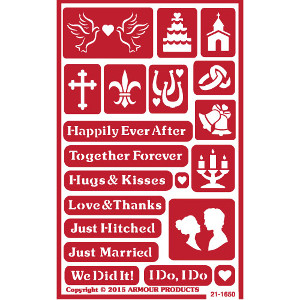 Just Married Wedding Glass Etching Stencils