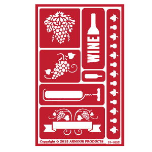 Wine Glass Etching Stencils with Grape Designs