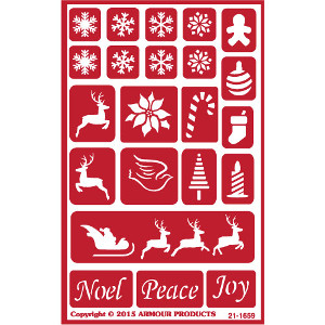 Christmas Holiday Glass Etching Stencil Elements