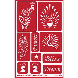 Feathered Peacock Glass Etching Stencils