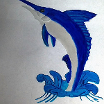 Finished glass painting that was etched of a marlin.