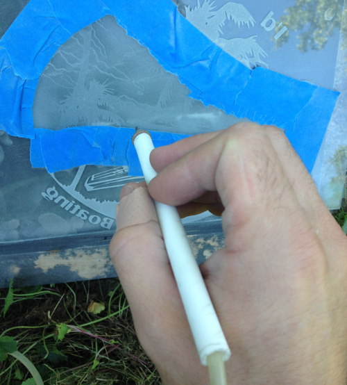 Shade etching being performed on clouds.