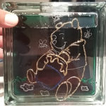 Decorative Glass Block Craft of Winnie the Pooh.