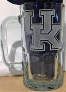 University of Kentucky etched mug logo.