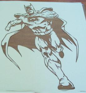 Batman stencil on glass