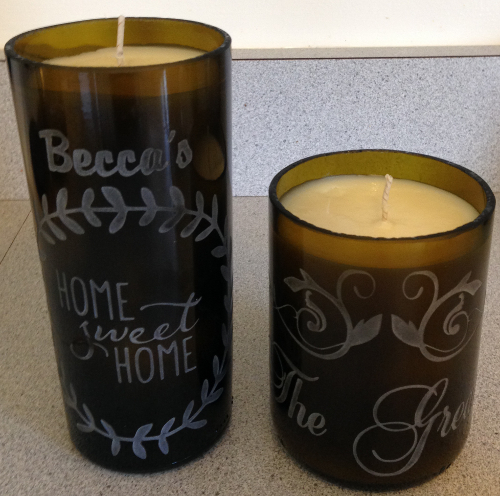 Etch Homemade Candles from Cut Bottles