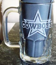Dallas Cowboys beer mug etched.