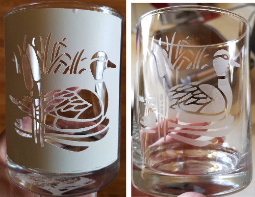 Duck stencil on glass and completed etching..
