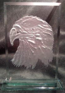 Eagle head sandcarved acrylic