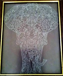 An elephant engraved design