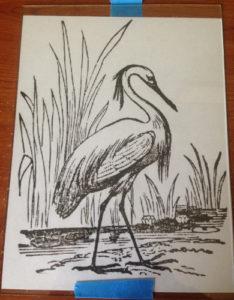 engraved bird pattern