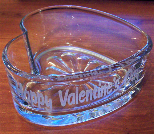 etched text in glass heart