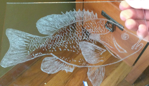 fish hand engraved