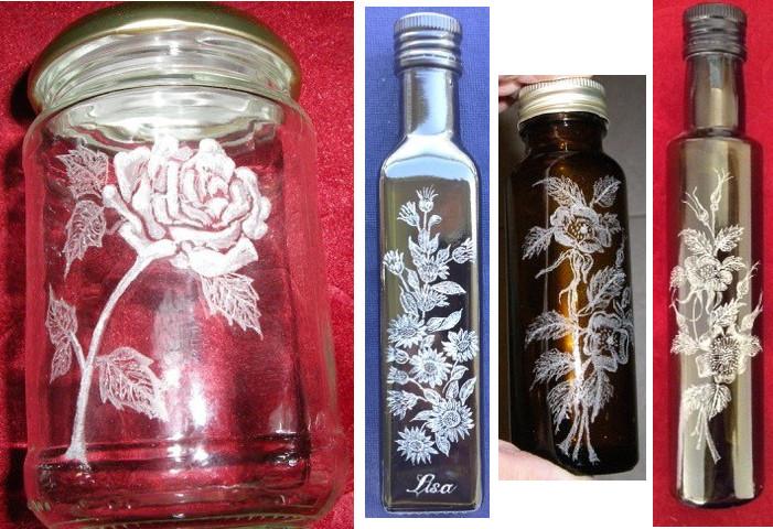 flower engraved jars bottles