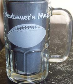 Beer mug etched and personalized with football.