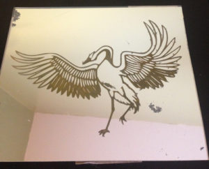 highlighted etching on mirror prior to adding the black light