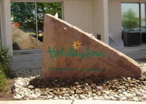 holiday inn sandblasted sign stone