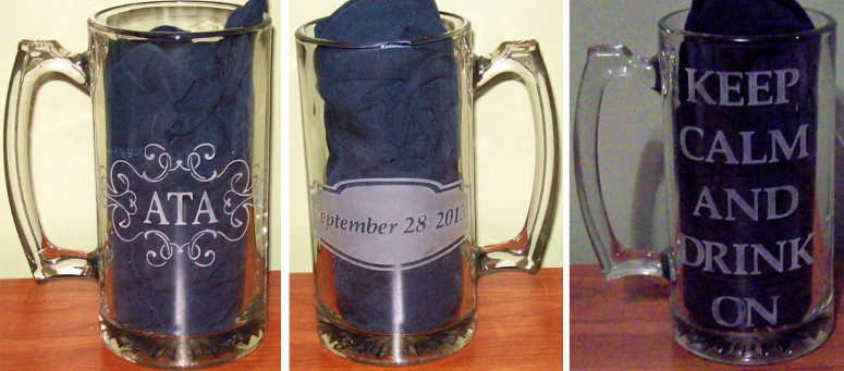 Initials and date etched on wedding party beer mugs